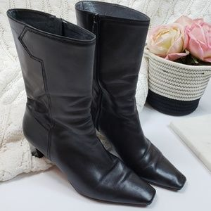 COLE HAAN | Black Leather Mid Calf Boots Size 9.5